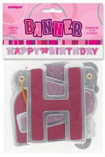 Pink Glitz Hinged 'Happy Birthday' Banner